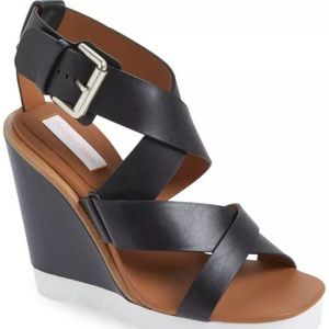 NEW 10 / 40 See By Chloe Black Leather Wedge